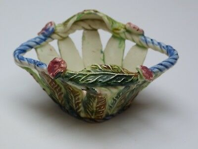 Small continental ceramic floral openwork dish. Hand decorated. ?1920s