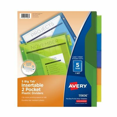 Avery Big Tab Insertable Plastic Dividers, Double Pocket, Multicolor, 5 Tabs
