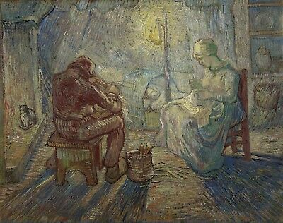 Vincent van Gogh, Evening - The Watch 1889, Hand Painted Canvas Oil Painting