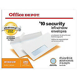 Office Depot Brand Clean Seal Security Window Envelopes, #10, White, 250-Pk