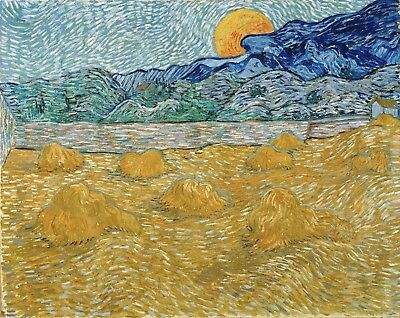 Vincent van Gogh, Landscape with Rising Moon Hand Painted Canvas Oil Painting