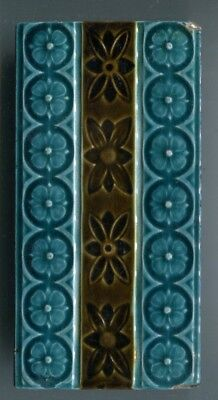 "Relief moulded 3""x6"" tile by unidentified maker, c1903"