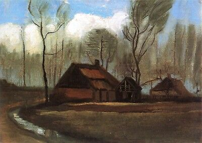 Vincent van Gogh, Farmhouses Among Trees, 1883, Hand Painted Canvas Oil Painting