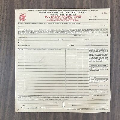 Southern Pacific Lines Trucking 1940's Uniform Straight Bill Of Lading Pad