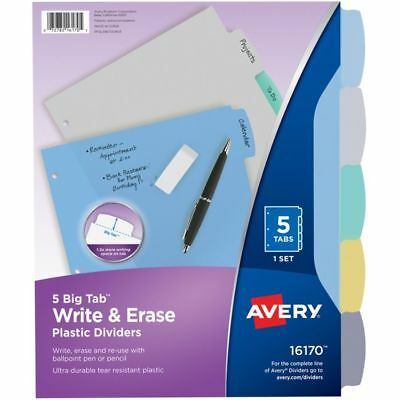 """Avery Durable Write-On Plastic Dividers With Erasable Tabs, 8 1/2"""" x 11"""", 5 Tabs"""