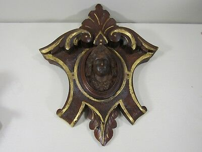 Antique Victorian Walnut Wood Carved Crest Molding Lady's Woman's Head Face