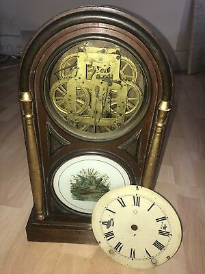 Vintage Wooden Case 8 Day Striking Clock For Restoration/Spares Seth Thomas USA