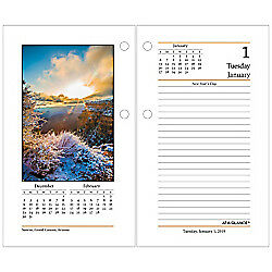 AT-A-GLANCE(R) Daily Photographic Loose-Leaf Desk Calendar Refill, 3 1/2in. x