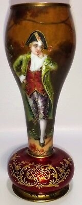 Antique French Enamel Hand Painted Artist Signed Cabinet Vase