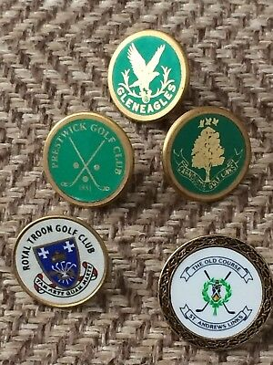 Collection of ball markers from famous Scottish Golf Clubs
