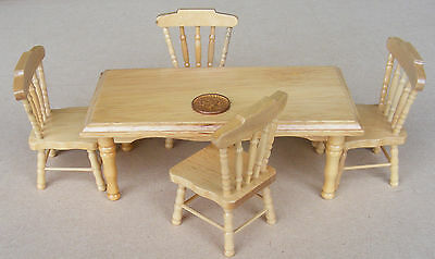 1:12 Scale Pine Colour Wood Table & 4 Chairs Dolls House Miniature Kitchen 131P