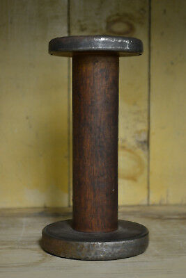 Antique Primitive Wood Thread Wire Spool Candle Stick Desk Office Factory