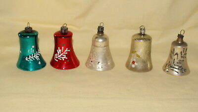 5 Vintage Glass Bell Ornaments W/ Clappers Holiday Christmas