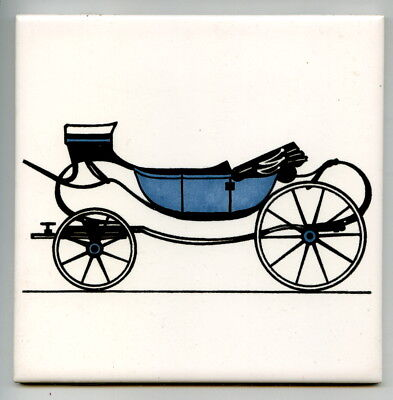 "Screen printed 6""sq Vintage tile by Carter & Co, Poole, ""Carriages"" series, 1967"