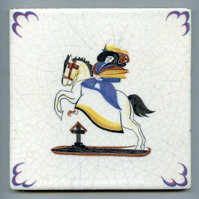 "Hand painted 6""sq tile by Carter & Co, Poole, ""Nursery Rhyme"" series, 1930s"