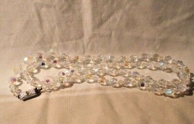 Vintage Clear Glass Crystal Necklace 29 Inches Long Beautiful