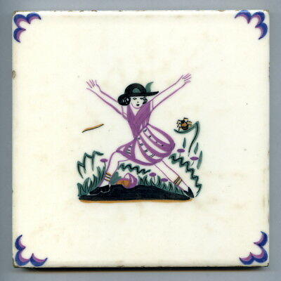 "Hand painted 6""sq tile by Carter & Co, Poole, ""Nursery Rhyme"" series, 1955"