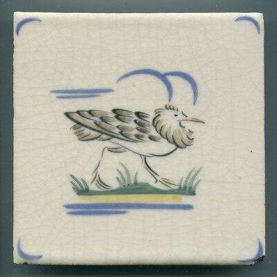"Hand painted 6""sq tile by Carter & Co, Poole, ""Water Birds"" series, 1930s"