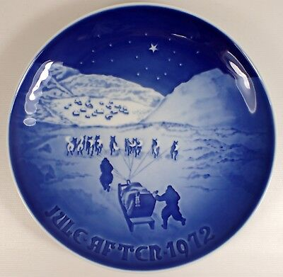 MINT Vtg 1972 Bing and Grondahl B&G Blue Christmas Plate Jule After In Greenland