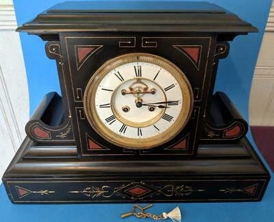 Perfect 19th French large black slate & marble F. Marti striking Mantel Clock