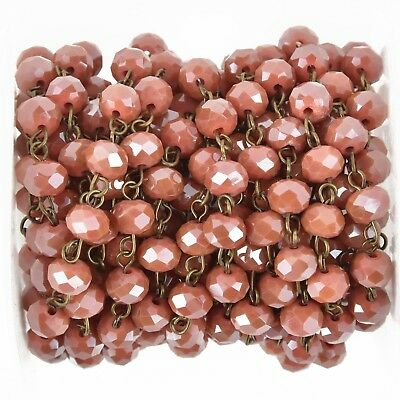 1 yard TOMATO RED Crystal Rondelle Rosary Chain, bronze wire, 8mm glass fch0971a