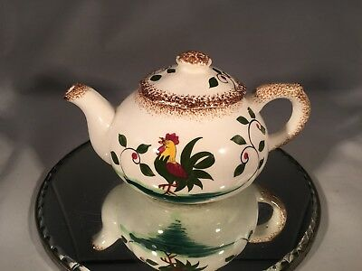 Napco Vintage Handpainted Rooster And Vines Japan Mid Century Ceramic Tea Pot