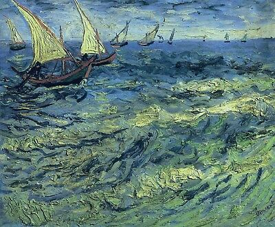 Vincent van Gogh, Fishing Boats at Sea, 1888 Hand Painted Canvas Oil Painting