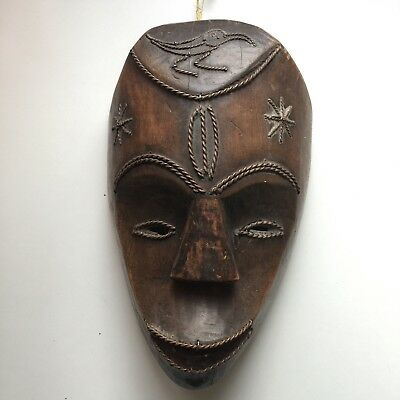 African Wooden Mask With Metal Embellishments. Tribal, Carved. Cameroon Or Gabon