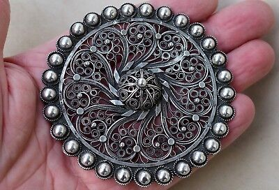 Très grande ancienne broche argent massif antique large solid silver brooch 42gr