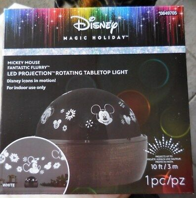 Disney Magic Holiday MICKEY MOUSE LED Projection Rotating Tabletop Light White
