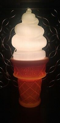 Vintage 1960's 1970's Safe T Cup Ice Cream Cone Lighted Advertising Display Lamp