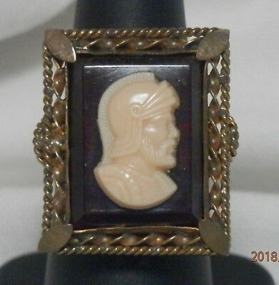 Vintage Cameo Style Ring with Bearded Warrior / Knight – Size 6 or so