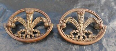 "(2) Solid Bronze Brass Cabinet Drawer Pull 2.5"" x 3"" Leaf Floral Ribbon Bow"