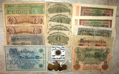 14 Vintage Germany Banknotes! Small Bag Of German Coins! #85G