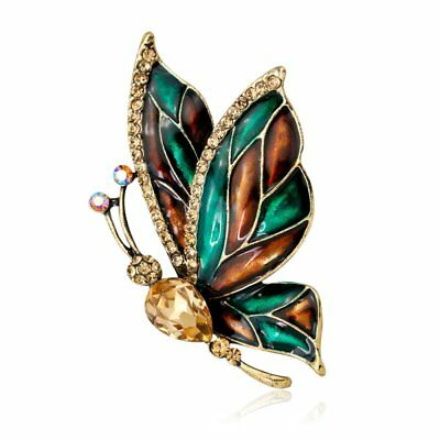 Fashion Wedding Jewellery Vintage Gold Butterfly Animal Crystal Brooch Pin Party