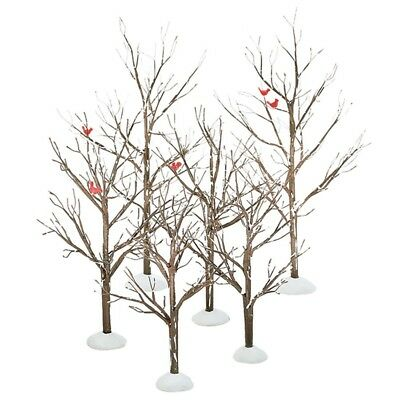 Department 56 General Village BARE BRANCH TREES SET/6 52623 BNIB with Cardinals