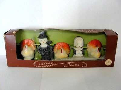 Vintage Thanksgiving Gurley Novelty Holiday Candles Original Box, Set of 5