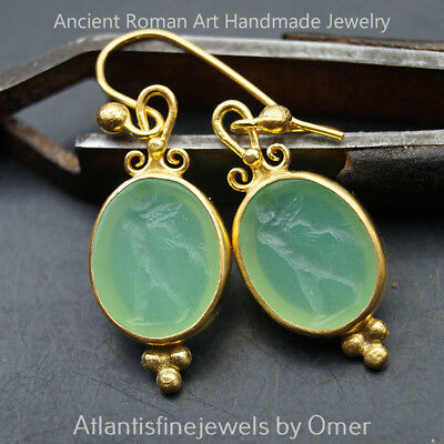 925k Silver Roman Art Venetian Intaglio Dangle Earrings By Omer 24 k Gold Plated