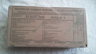 Mre French Army Military/nato 24Hour Ration Pack Rcir Camping Sealed Box Menu 5