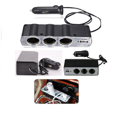 3 way Charger Triple Socket Splitter Cigarette Lighter Adapter Plug + USB Port,