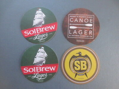4 only SOLOMON ISLANDS BREWERY  Issue,BEER Coasters