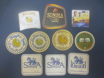 10 different SINGHA BREWERY / SINHA BREWERY Issued ,BEER Coasters