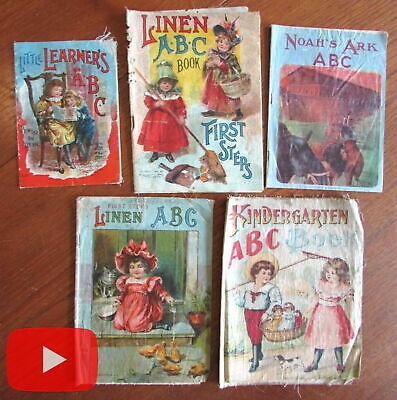 ABC linen books for young children c.1890-1910 era lot x 5 colorful cloth