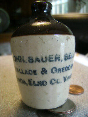 "Miniature Late 1800's,early 1900's ""JOHN SAUER SELLS Wallace & Gregory vinegar"""