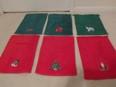 6 Vintage Red Green Christmas Design Applique Terry Guest Hand Fingertip Towels