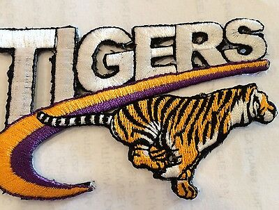 "VINTAGE IRON ON EMBROIDED PATCH LSU TIGERS  3 1/4"" x 2 1/4"""