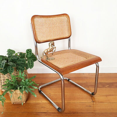 Vintage wicker and chrome chair - marcel breuer cesca replica - midcentury style