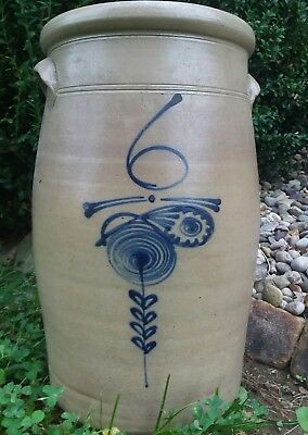 Decorated single P , 6 salt glaze  Butter churn WOW Stoneware Crock