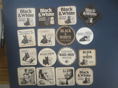 16 different BLACK & WHITE Scotch Whisky ,Australian Issued  BEER Coasters