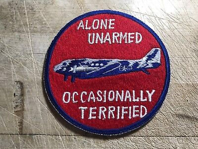 """1960s? US AIR FORCE PATCH """"Alone Unarmed Occasionally Terrified""""-ORIGINAL USAF!"""